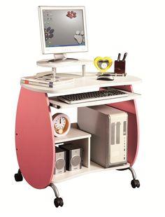 Techni+Mobili+Petit+Pink+Mobile+Computer+Desk…