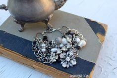 Layers Bracelet with Vintage rhinestone finds, Pearls and Gemstones!