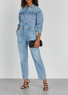 Citizens of Humanity Marta light blue denim jumpsuit - Harvey Nichols Ladies Jumpsuit, Denim Jumpsuit, Overalls, Harvey Nichols, Citizens Of Humanity, Jumpsuits For Women, Blue Denim, Respect, Mom Jeans