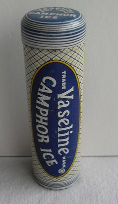 Vaseline Camphor Ice Metal Tin Can  1940s - this stayed in our medicine cabinet until I graduated high school!!
