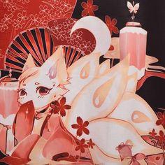Girls Japanese Style Fantasy Fox Print Kimono Haori Coat w Waistbelt Short Skirt   eBay