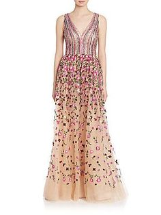 David Meister Beaded Bodice Gown - Nude - Rose - Size