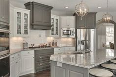 Grey Kitchen Cabinets, Granite Kitchen, Painting Kitchen Cabinets, Kitchen Cabinet Design, Kitchen Countertops, New Kitchen, Wood Cabinets, White Cabinets, Kitchen Island