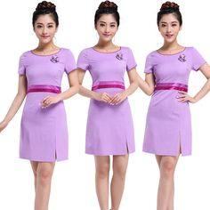 Korean purple cosmetic medical service beautician foot SPA cosmetology clothing beauty salon nurse waiter  work clothes uniform