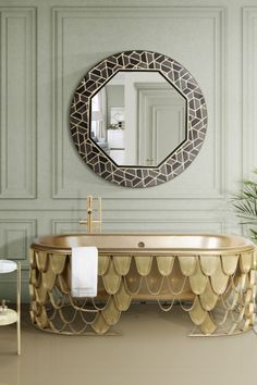 The Koi Collection is the biggest product family we have! Covering bathtubs, single washbasin, washbasin, freestanding, mirror, tall storage display case, screen, side table, centre table, stool, soap dish, vessel sink – round or rectangular -, column cabinet, towel ring, and rugs – rectangular or round. You can also find this collection for the dining room with the Koi dining table, and a Koi console for your entryway!