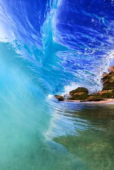 Blue tunnel! Ph: Michael Santos  #ocean #waves #wild #nature #landscape #blue