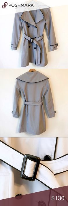 VERTIGO PARIS Belted Trench Coat (XS) Gently worn, beautiful coat in light shade of gray/blue. Purchased for $225. This is a stunning coat by a high quality brand. In very good condition.   **Pet/Smoke Free Home** **Questions Welcome**  **Price Is Firm On Items $13 & Under** Vertigo Paris Jackets & Coats Trench Coats
