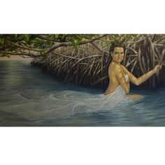 Christina Major 'Woman in Water' Oil on Canvas
