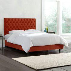 Skyline Furniture Mystere Velvet Button Tufted Bed (California King, Mystere Hacienda), Orange
