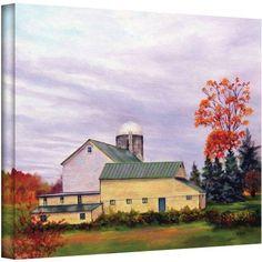 ArtWall Marina Petro Yellow Barn Gallery-wrapped Canvas, Size: 24 x 32, Green