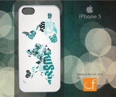 iPhone 5 Case World Map  Greens WHITE or BLACK Plastic by CaseFase, $20.00