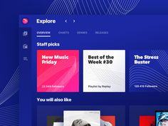 Replay in a nutshell it's a concept product design project for a music app, as Gruev said, inspired by Spotify, VK, Apple Music and Discogs. Music App, New Music, Dashboard Design, App Design, Music Website Templates, Film App, Ui Patterns, Website Layout, Website Ideas