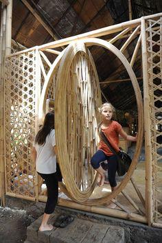 A revolving bamboo door at the Green School in Bali.