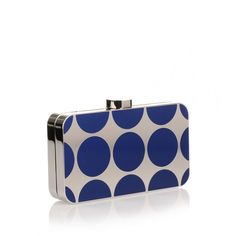 Manolo Blahnik Mina Royal Blue Shiny Silver Clutch ($1,740) ❤ liked on Polyvore featuring bags, handbags, clutches, blue, chain purse, chain handbags, royal blue handbag, white purse and royal blue purse