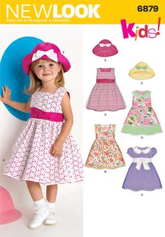 Toddler Dresses and Hat Sewing Pattern 6879 New Look