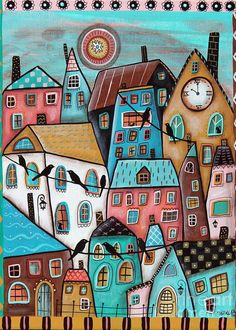 Purchase posters from Karla Gerard. All Karla Gerard posters are ready to ship within 3 - 4 business days and include a money-back guarantee. Karla Gerard, House Quilts, Naive Art, Stained Glass Art, Whimsical Art, Painting & Drawing, Clock Painting, Home Art, Wall Art Prints