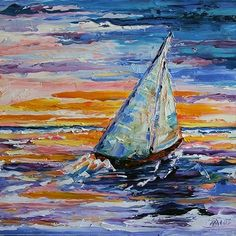 Summer Sail to Sunset Sailboat Painting by Texas Artist Laurie Pace, painting by artist Laurie Justus Pace