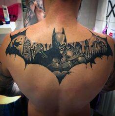 Batman Symbol Themed Mens Upper Back Tattoos