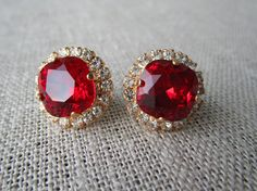 Red Bridal Earrings - January Birthstone - Valentine's Day Gifts by SarahOfSweden on Etsy
