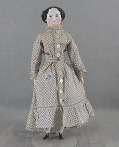 China Head Lady Doll Brown Eyes Early Costume Original Body