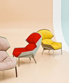 Clarissa Hood armchair and Hood chair by Patricia Urquiola for Moroso
