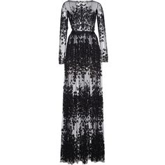 Zuhair Murad     Thread Embroidered Long Tulle Dress ($7,290) ❤ liked on Polyvore featuring dresses, zuhair murad, gown, black, tulle dress, floral embroidered dress, embroidery dress, embroidered tulle dress and flower print dress