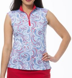 #lorisgolfshoppe Women's Golf Apparel offers a classy collection of golf skorts, shorts, dresses, and golf tops. You gotta see this Pop Paisley Blue SanSoleil Ladies SolCool Sleeveless Zip Mock Golf Shirt with unique , pretty prints and colors!