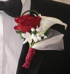 Fairytal wedding, red and white wedding, calla lily boutonniere, silk flower boutonniere