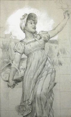 This 1890 Conté work on paper by Henry Gillard Glindoni is a sketched design for an advertisement for Coats cotton firm. 'Girl with Fruit Basket' by Henry Gillard Glindoni (1852–1913), Valence House Museum http://bit.ly/2zVxB5K