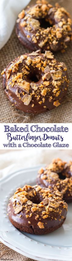 These simple baked chocolate donuts are topped with a rich chocolate glaze and crumbled butterfingers! These chocolate donuts are rich, sweet, and perfectly decadent! Technically, since this is a donuts, it can be considered breakfast food, right?  I promise I won't tell!