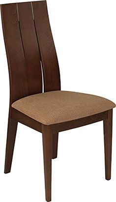 4266c941e6bf 2 PACK Contemporary Design Dining Chair with Walnut Wood Finish   Brown  Fabric Walnut Finish