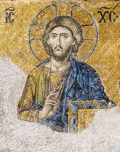 12th Century Byzantine mosaic of Christ Pantocrator on wall of Hagia Sophia in Constantinople.  - Wikipedia, the free encyclopedia