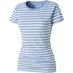 Sally Scoop Stripe T-Shirt ($7.12) ❤ liked on Polyvore featuring tops, t-shirts, blue top, short sleeve tee, layering tee, short sleeve t shirt and cotton t shirt