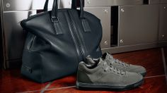 Tod's Men's Autumn Winter 2013-2014 Collection. Petroleum blue leather #bag and two-tone gray suede #sneakers with ultralight rubber sole.
