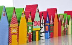 Adventskalender, Basteln, Creadienstag, Papier, Adventsdorf, Weihnachten, Häuser, Papphäuser, Fotokarton, 24