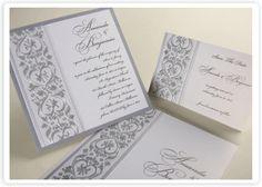 amore silver wedding invitation