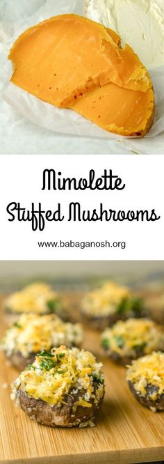 Mimolette #Cheese Stuffed Mushrooms - the perfect snack or appetizer for parties and for the #BigGame. Yum! #GameDayRecipes #vegetarian #recipe