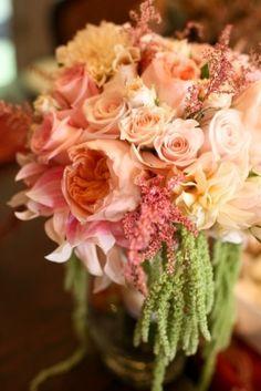 Orange peach Bouquet wedding