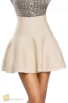 Sommerrock Mini Damen A- Linie Beige Creme Ausgestellt Uni High Waist Apropos