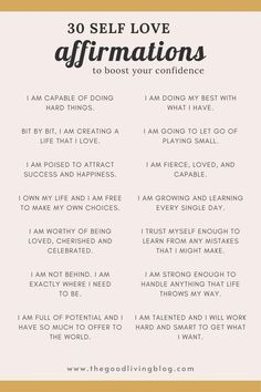 30 Positive Self Love Affirmations to Boost Your Confidence
