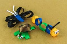 Ribbon animals Nintendo 64, Stud Earrings, Ribbons, Creatures, Crafts, Animals, Bias Tape, Animaux, Studs