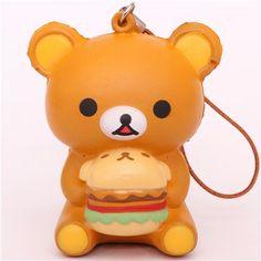 Rilakkuma brown bear with hamburger squishy cellphone charm
