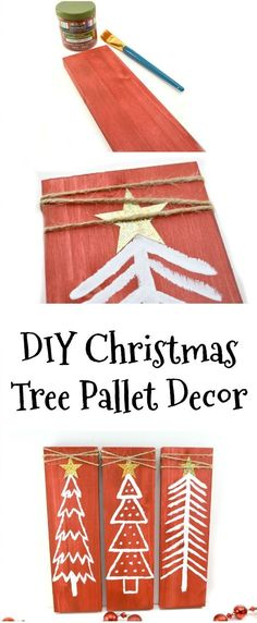 Easy DIY Christmas Decor: Upcycled Pallet  Painted Christmas Trees via @WisconsinMommy