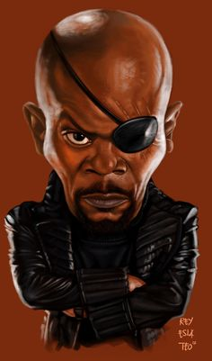 Nick Fury - Avengers Caricature by Rey Esla Teo , via Behance