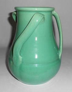 Stangl Pottery Green Tri Handle 1124 Wheel Thrown Vase   eBay
