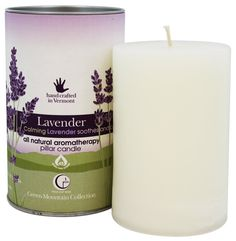 Way Out Wax, Green Mountain Collection, Pillar Candle, Lavender, 2.75 x 4 Candle