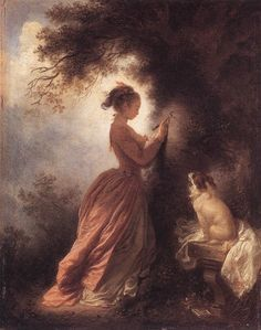 The Souvenir :: Jean-Honore Fragonard - Romantic scenes in art and painting