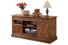 """The Hamlyn Desk from Ashley Furniture HomeStore (AFHS.com). With rich traditional style infused with a European flair, the sophisticated elegance of the """"Hamlyn"""" home office collection is sure to enhance the beauty of any home office decor."""