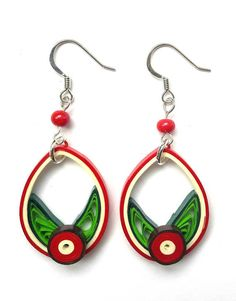 Pretty quilled earrings red flower.