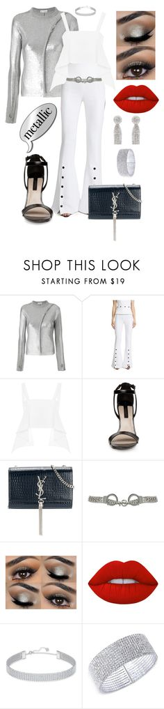 """Metallic"" by mariana-cufari ❤ liked on Polyvore featuring Paco Rabanne, Cushnie Et Ochs, Yves Saint Laurent, Moschino, Lime Crime, Swarovski, Anne Klein and Oscar de la Renta"